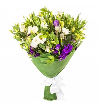 sepette mevsim Çiçekleri Beyaz Listantus Buketi