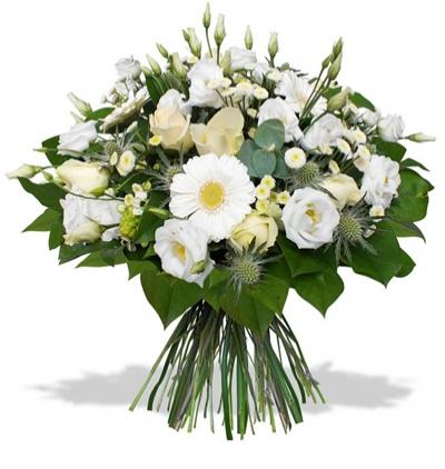 sepette karma Çiçekler Beyaz Çiçeklerden Buket