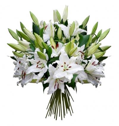 sepette mevsim Çiçekleri Beyaz Lilyum Buketi