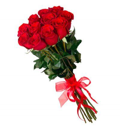 krizantem ve güller 12 Kırmızı Gül Buketi