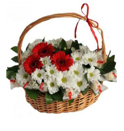 antalya flora Gerbera and Chrysanthemum in Basket