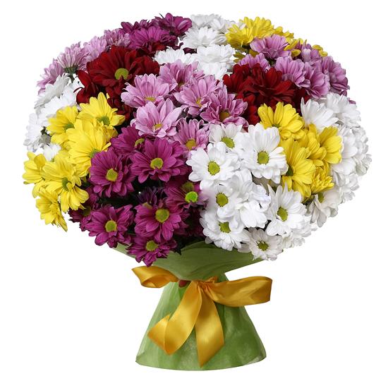 доставка цветов в анталии Букет из разноцветных хризантем