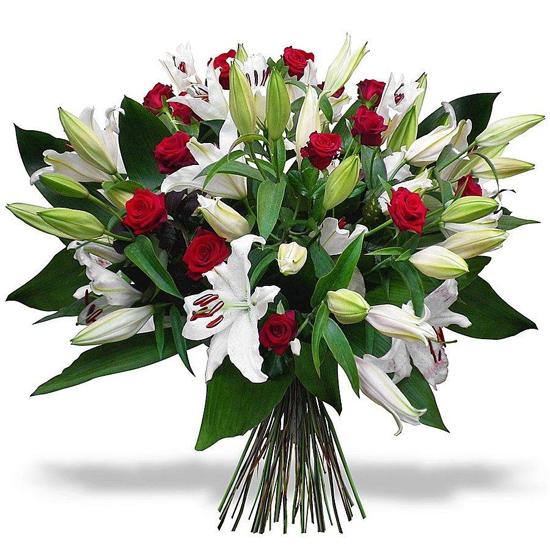 доставка цветов в анталии Букет из лилий и роз