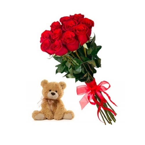 доставка цветов в анталии 11 красных роз и Тедди