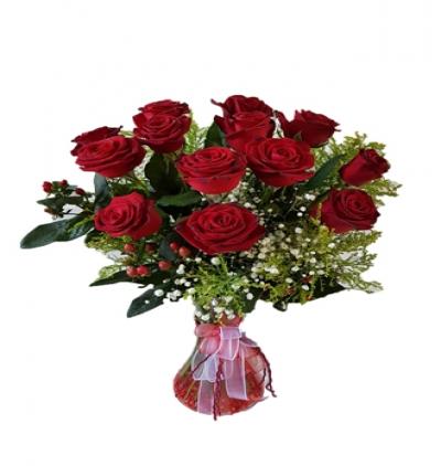 krizantem ve güller Vazo İçinde 11 Kırmızı Gül
